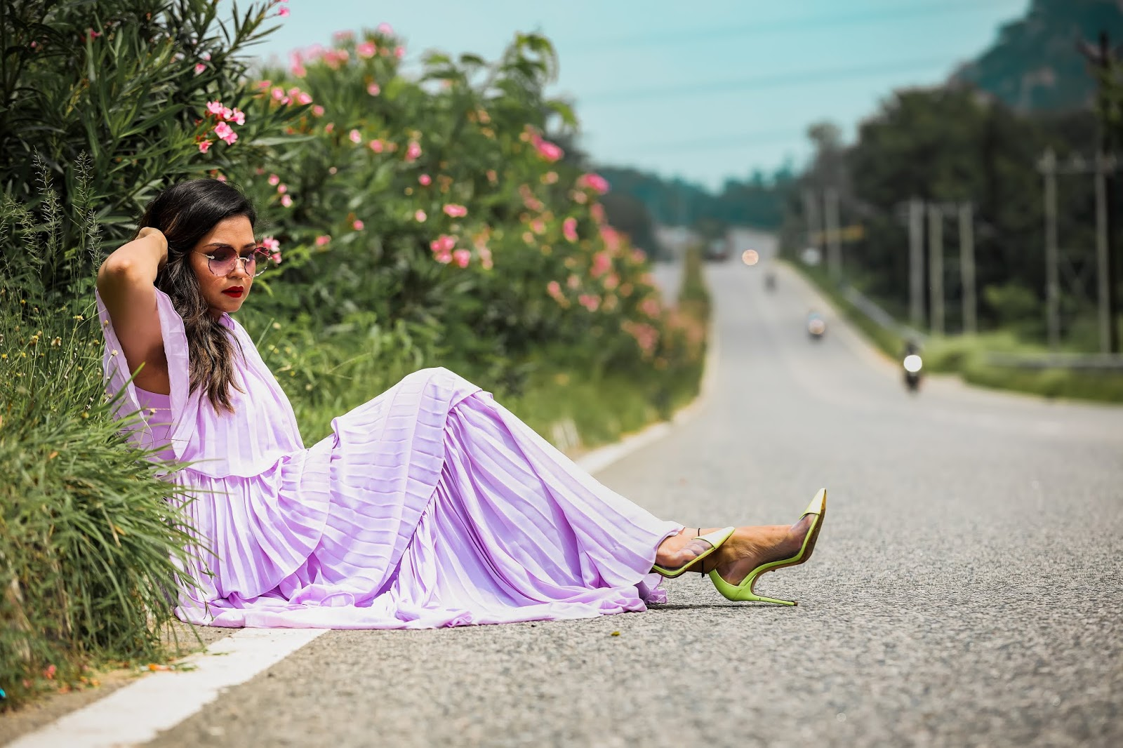 lilac maxi dress, tired dress, fashion, style, neon vinyl heels, myriad musings
