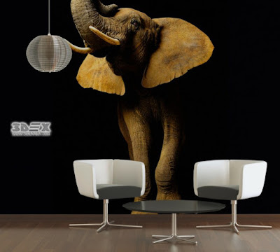 realistic 3D wallpaper designs for-living rooms with elephant image