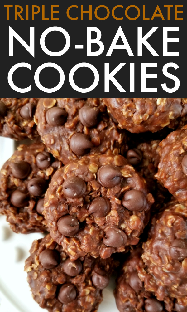 Classic no-bake peanut butter oatmeal cookies made with DOUBLE the cocoa and studded with chocolate chips for three times the chocolate goodness! #nobakes #cookies #chocolate
