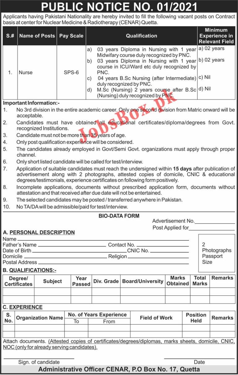 Center for Nuclear Medicine & Radiotherapy CENAR Quetta Jobs 2021 in Pakistan