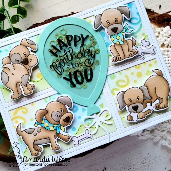 Happy Birthday Puppy Card by Amanda Wilcox | Puppy Playtime Stamp Set, Balloon Shaker Die Set, and Confetti Stencil by Newton's Nook Designs