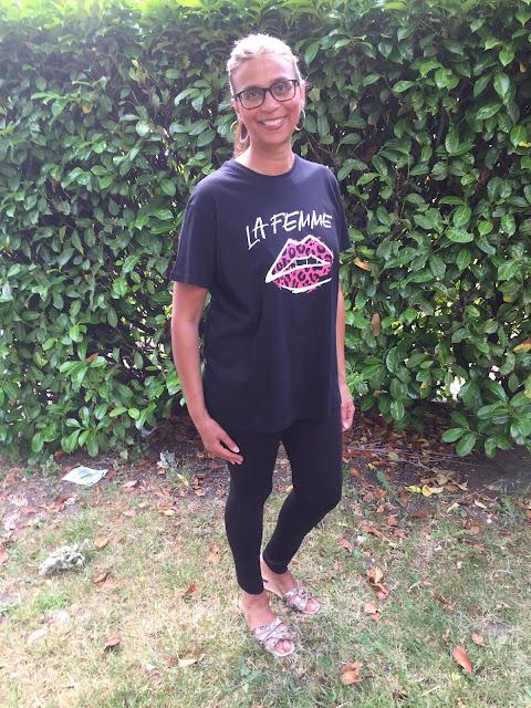 Black La Femme Slogan Print Lip t-shirt Rayna