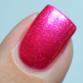 pink foil nail polish with shifting shimmer