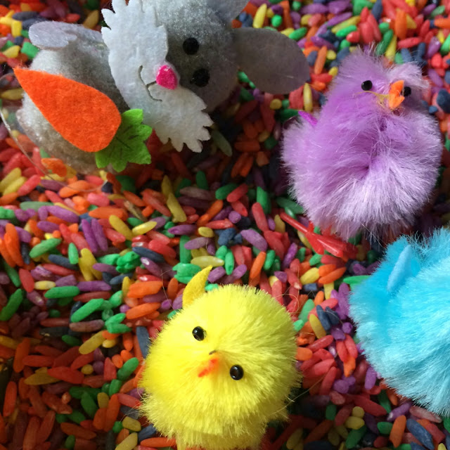 Easter sensory play, rainbow rice