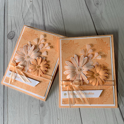 Pale Papaya Monochromatic Greeting cards using Stampion' Up! Daisy Garden Stamp Set and Daisy Punches