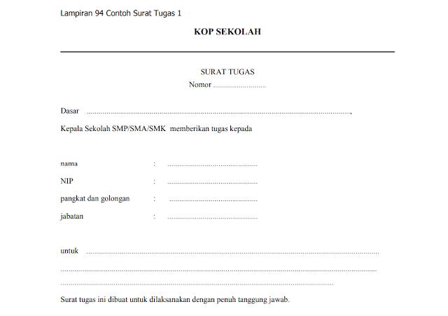 Contoh Surat Tugas Kedinasan Guru dari Kepala Sekolah