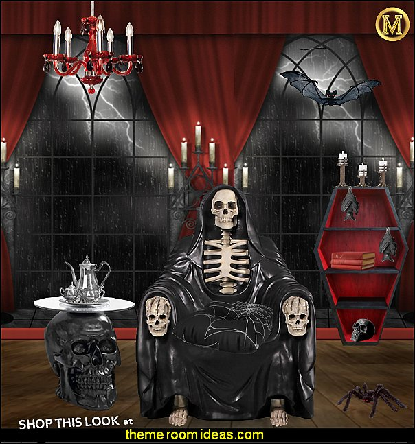 Seat of Death Grim Reaper Throne Chair  Lost Souls Gothic Skull Glass-Topped Table
