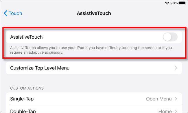 "يمكنك التبديل بين ""AssistiveTouch""."