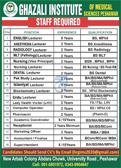Ghazali Institute of Medical Sciences Jobs 2021 in Peshawar KPK