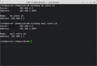 Lalu restart service bindnya dan kemudian cek dengan nslookup pastikan tidak ada yang salah