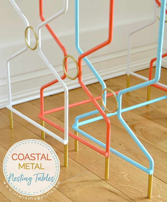 Vintage Coastal Metal Nesting Tables