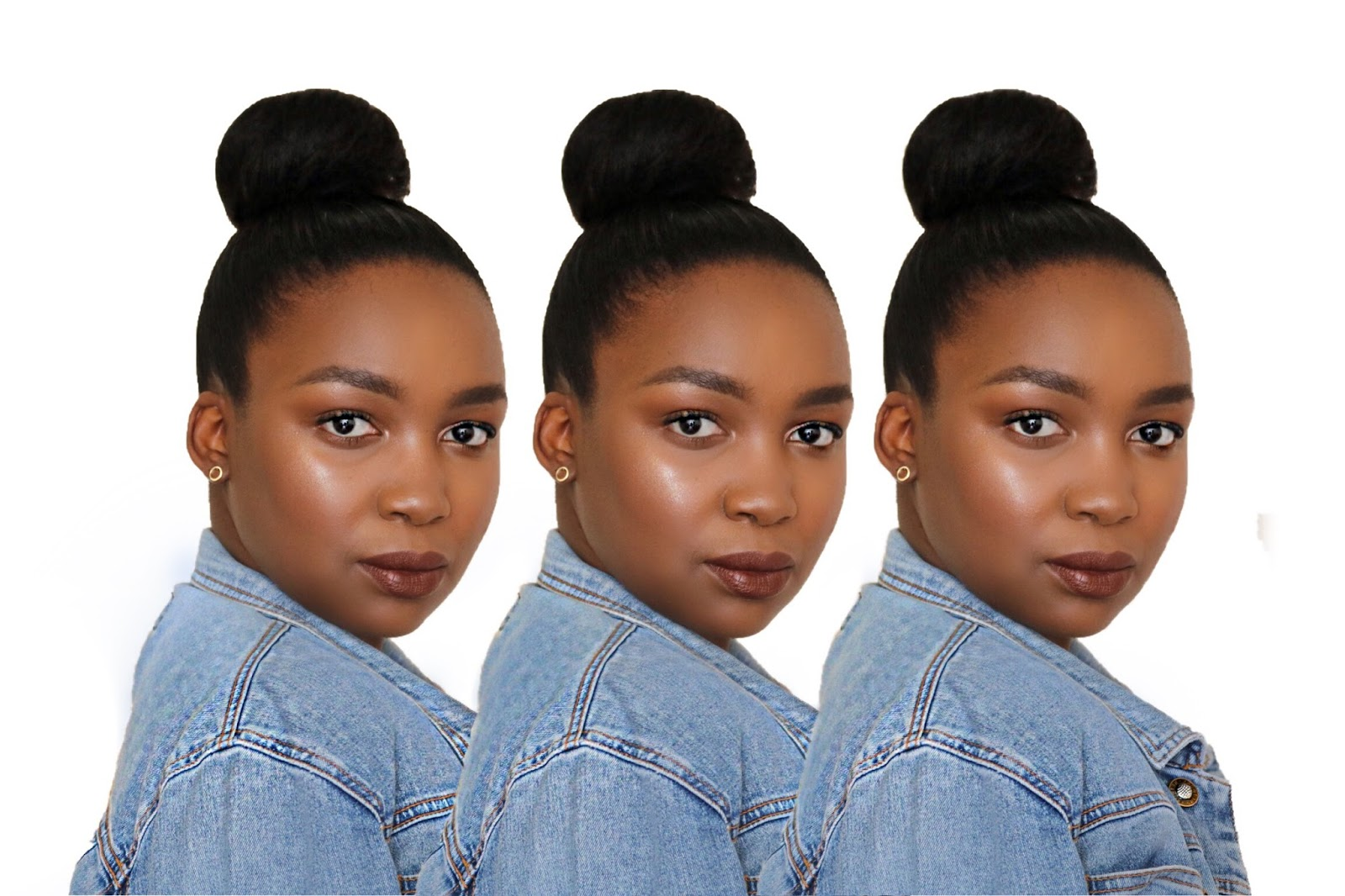 Top bun on relaxed African hair, Very Me Very V (South African Beauty Blogger)