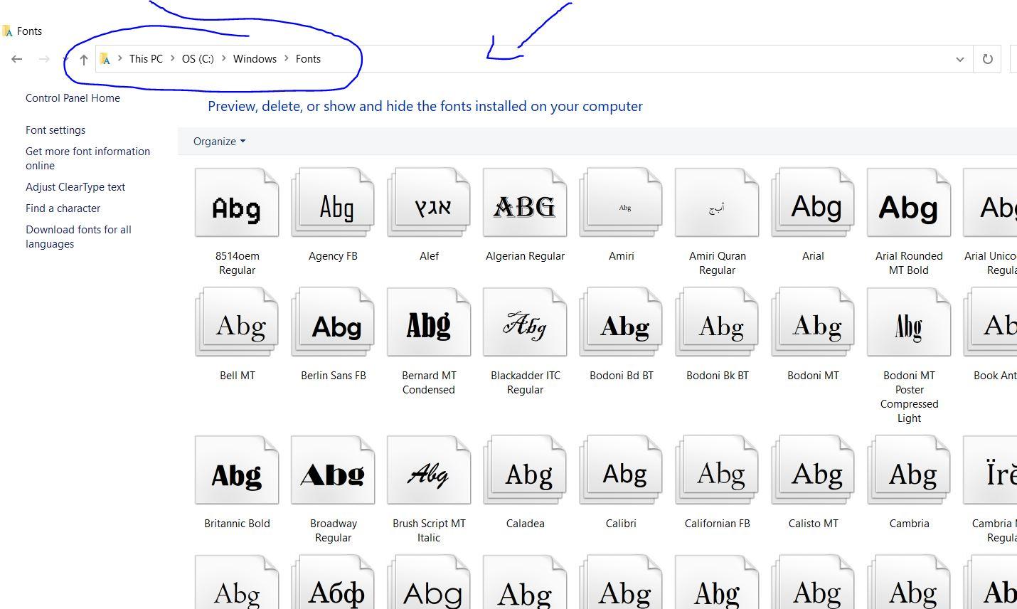 folder font windows