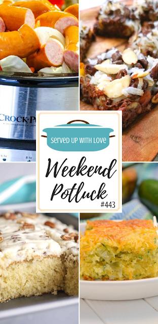 Weekend Potluck featured recipes include Italian Cream Cake, Zucchini Cornbread Casserole, Crock Pot Smoked Sausage, Almond Joy Magic Cookie Bars.