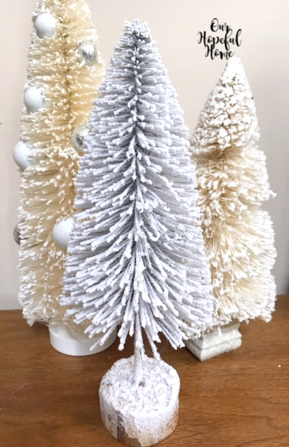 vintage white bottle brush tree trio