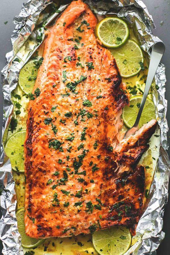 Best Baked Honey Cilantro Lime Salmon in Foil