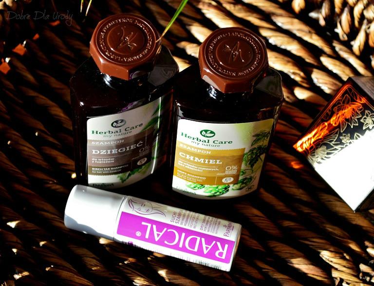 Szampony Farmona Herbal Care Chmiel i Dziegieć oraz suchy szampon Radical
