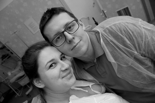 selfie z  porodu, poród na polnej, poród rodzinny, poród z mężem