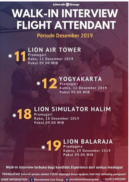 Lion Air GROUP Terbaru Minimal SMA SMK Sederajat Desember 2019
