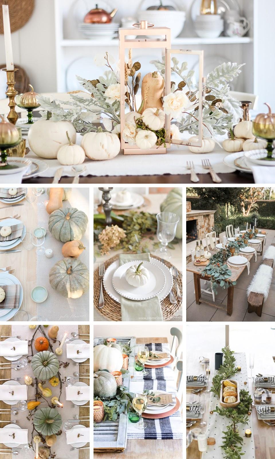 como decorar mesa natural para acción de gracias o thanksgiving con centro de calabazas fácil y económica