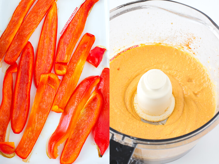 Roasted red pepper hummus step by step