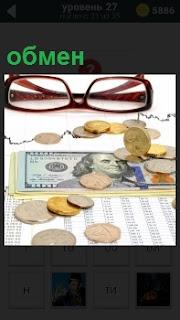 Лежат очки и купюры долларов для совершения обмена по курсу, который нарисован на листке бумаги