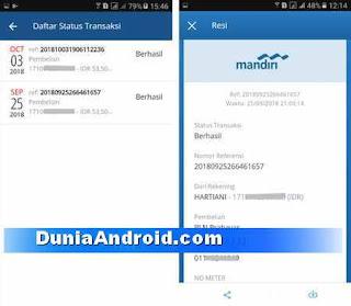 Daftar status transaksi mobile online mandiri