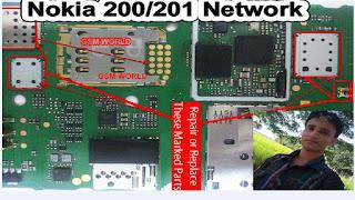 Nokia 200/201 Network Problem 100% Tested Solution  Problems::-Nokia 200/201 Network Problem,Nokia 200/201 No Network Access,Nokia 200/201 No Network Found,Nokia 200/201 Error Network,Nokia 200/201 Network Repair Jumper Solution. Nokia 200/201 Netwok IC,Nokia 200/201 Network.  Reson::-Ye problem Water damage Ya Phone Tutne ke Wajah Se Ya Sim Ke Wajah Se Hote hai. Isse Repair karne ke Liye.   Sabse Pehle Ek New Sim Card Install karke Dekhe Problem Same Najar AYe Tho Dusri Method Dekhe. Diagram Me Dikhaye Gaye Red Marked Area Ko Clean kare . Ek Baar phir Se Check Kare. Problem Solve Na Huwe Tho Marked Area ke Guards Utakar Andar Ke IC Ko Rehot Or Change Kare.