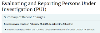 CDC Revised Testing Criteria For COVID-19 PUIs