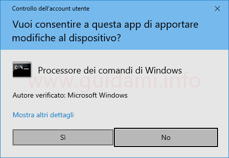 Windows 10 finestra Controllo dell'account utente