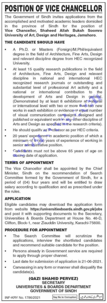 Post NameQualification Vice Chancellor (Shaheed Allah Buksh Soomro University Of Art, Design And Heritages)Masters
