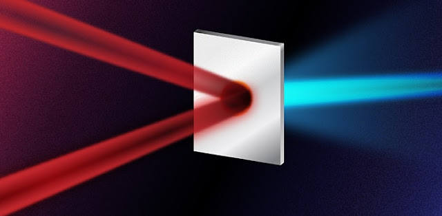 How a proton beam can double its energy. A standard laser generated proton beam is created through firing a laser pulse at a thin metallic foil. The new method involves instead first splitting the laser into two less intense pulses, before firing both at the foil from two different angles simultaneously. When the two pulses collide on the foil, the resultant electromagnetic fields heat the foil extremely efficiently. The technique results in higher energy protons whilst using the same initial laser energy as the standard method.  Illustration: Yen Strandqvist