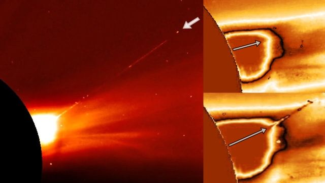 Space craft exits the Sun and leaves huge plasma trail behind  Ufo-nea-sun-alien-spacecraft