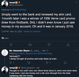 Nigerian man narrates how his bank rewarded him with N100k for renewing his ATM card
