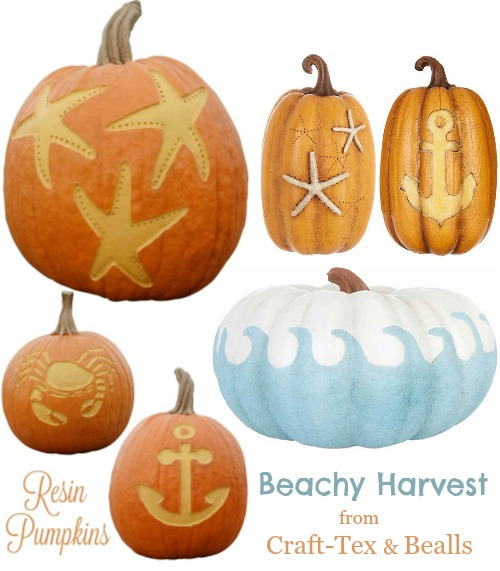 Artificial Faux Pumpkins Coastal Beach Theme