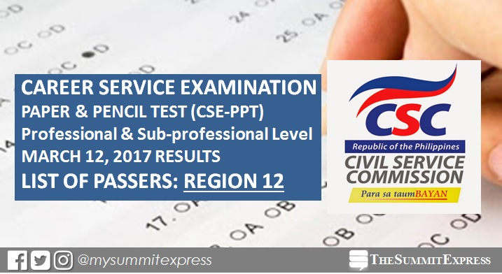 CSC releases March 2017 Civil Service exam results, passers list (Region 12)