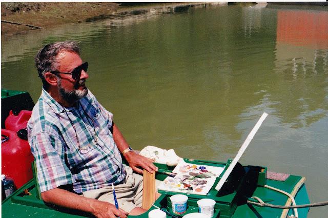 Robert Genn in his custom designed,  plein air painting boat THE MACKENZIE.