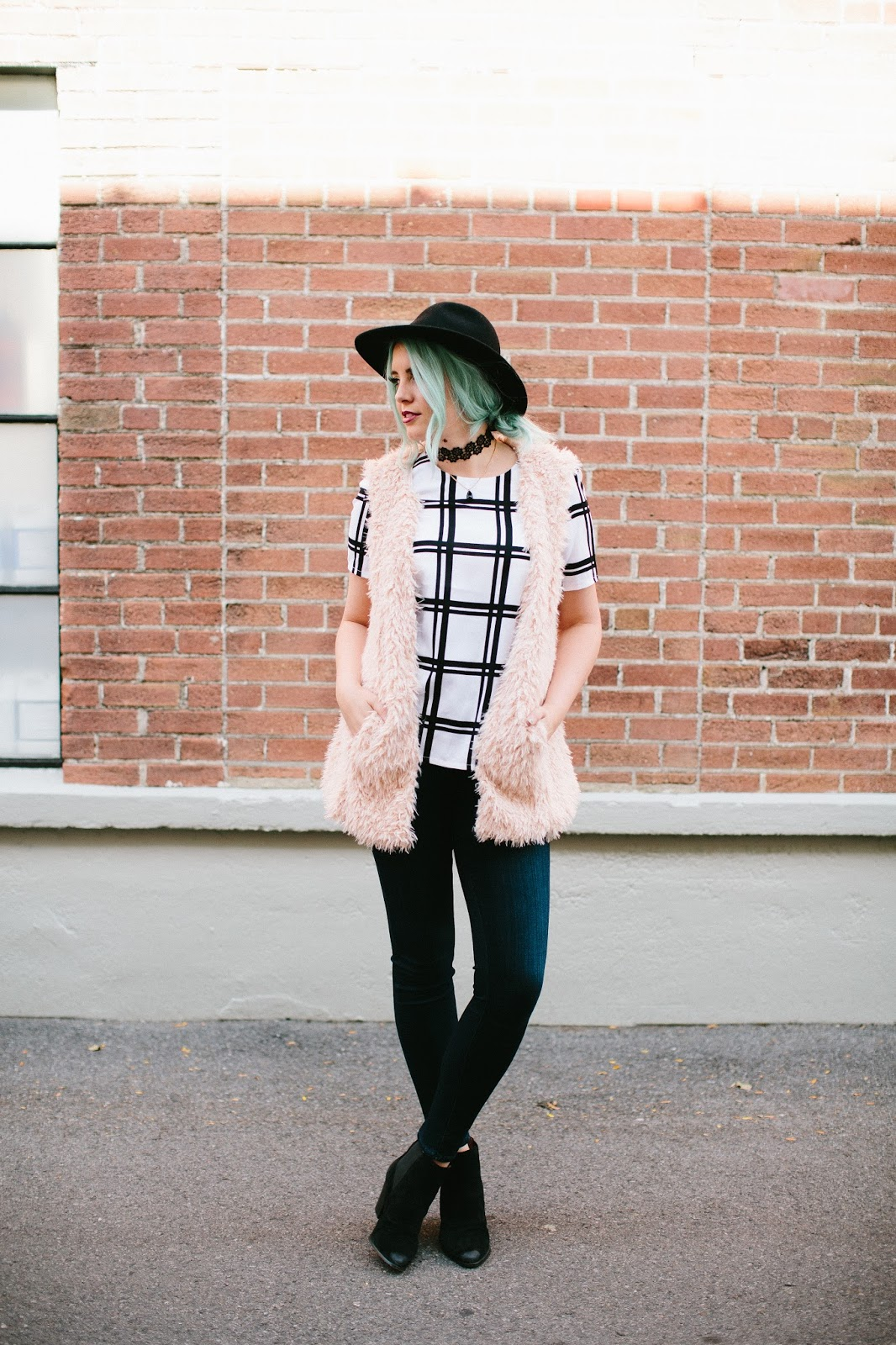 Fur Vest, The Red Closet Shop, Modest Outfit
