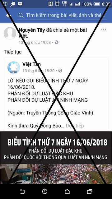 Từ nhiều ngày nay, tổ chức khủng bố Việt Tân phát đi lời kêu gọi tiếp tục  biểu tình, gây rối, bạo loạn vào hai ngày cuối tuần, thứ Bẩy và Chủ nhật,  ...