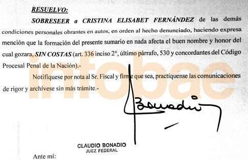 Bonadio sobreseyó a Cristina Kirchner en el caso por el título de abogada