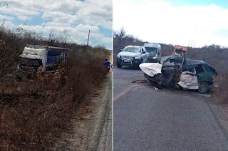Acidente envolvendo carro e caminhão da banda Cavaleiros do Forró no Cariri deixa motorista morto