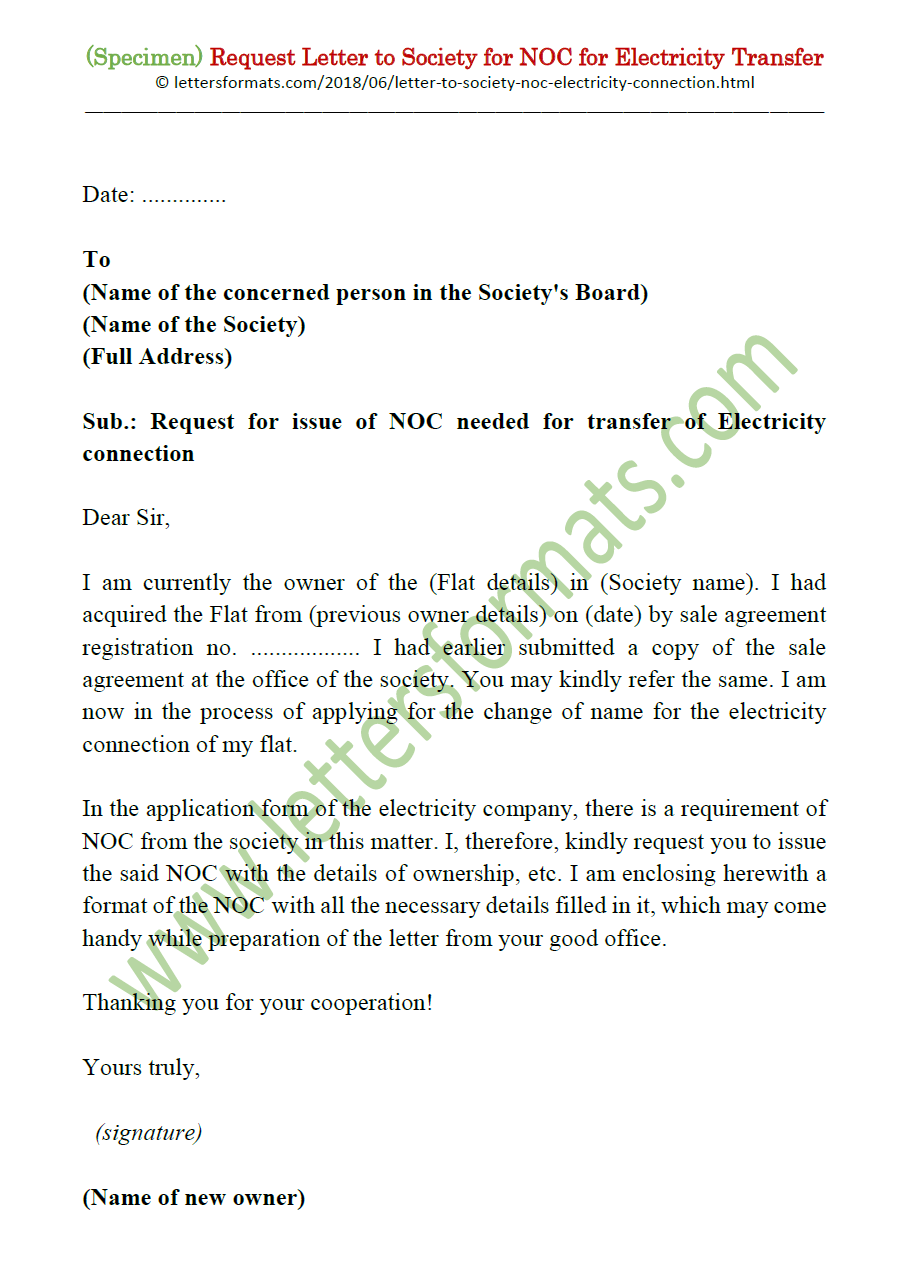 request letter to society for noc for electricity meter