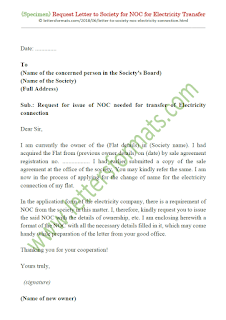 request letter for noc from society for electricity transfer