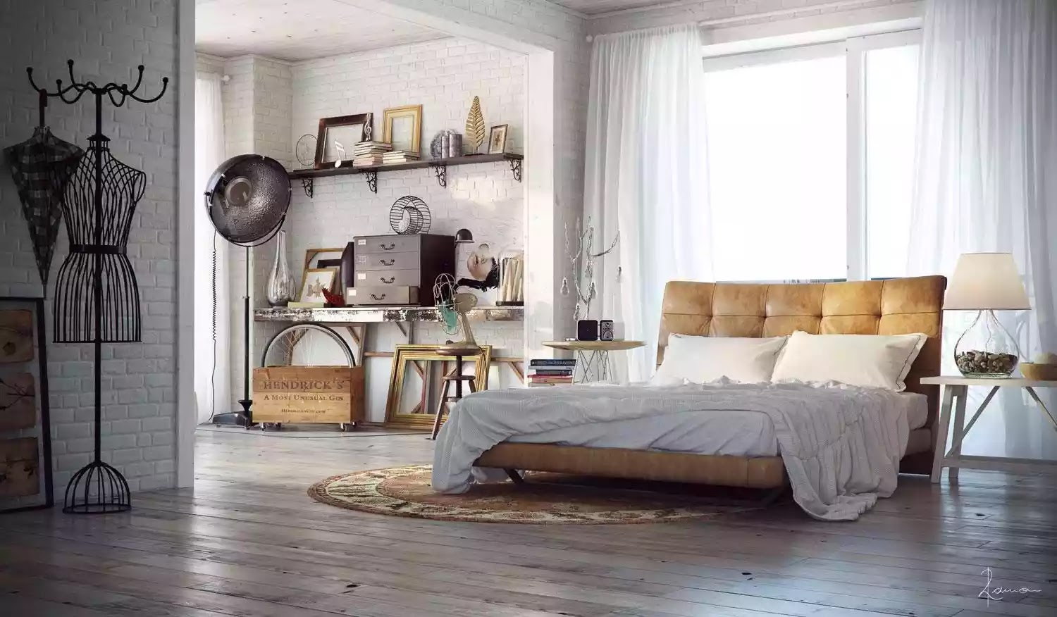 Industrial Bedroom Photo Decor And
