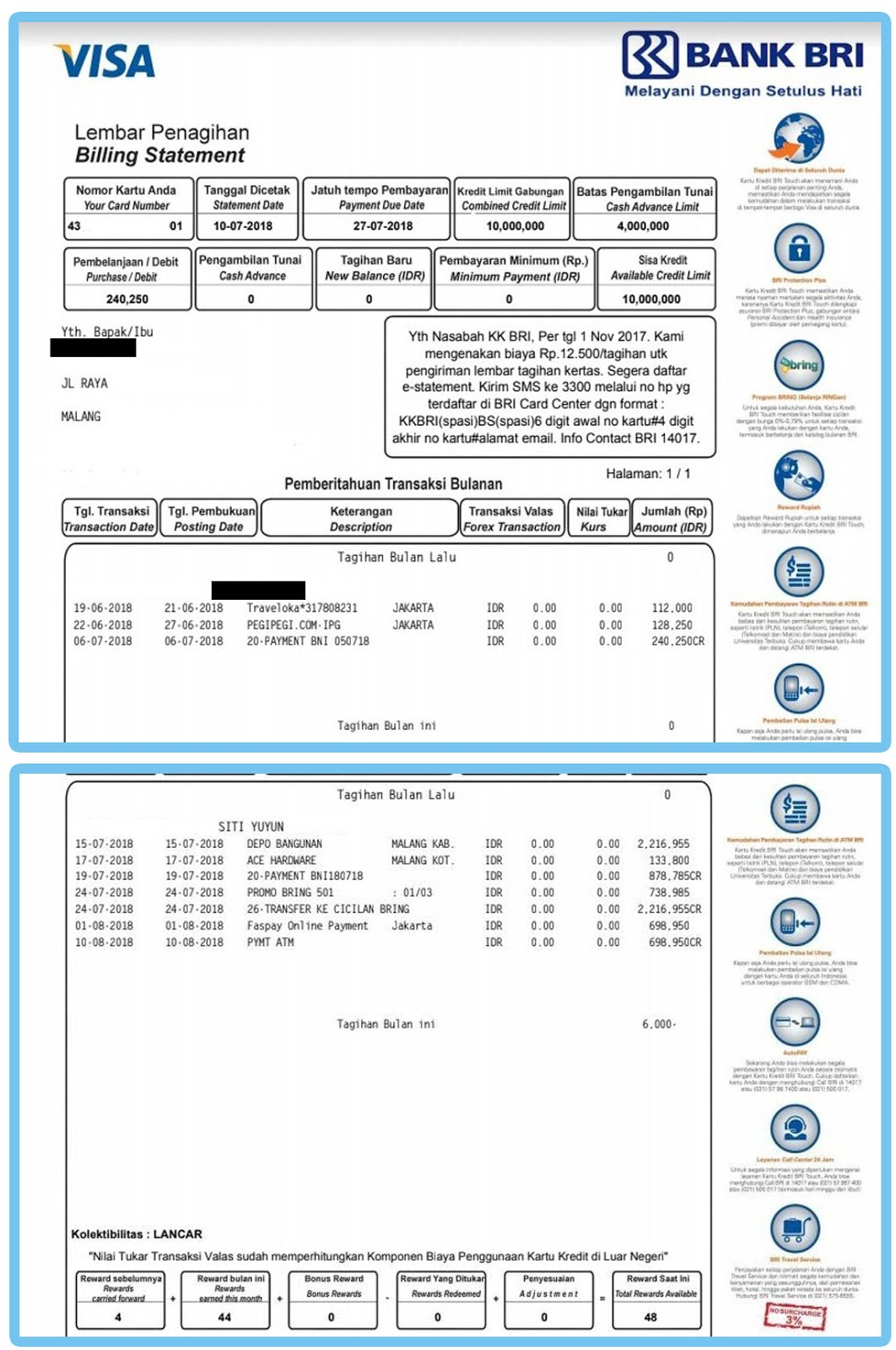 Contoh Tagihan Kartu Kredit BRI