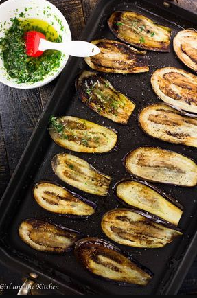 Healthy Pan Fried Baby Eggplant with Garlic and Herbs