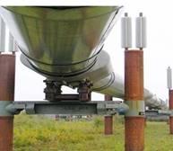 طريقة تبريد أرجل حوامل أنابيب نقل البترول في ألاسكا بواسطة أنابيب حرارية.