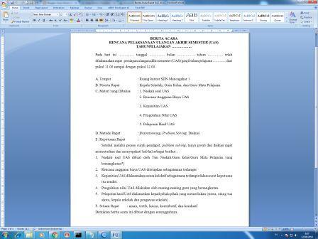 Arsip Kantor Download File Dokumen Gratis Berita Acara Rapat Uas