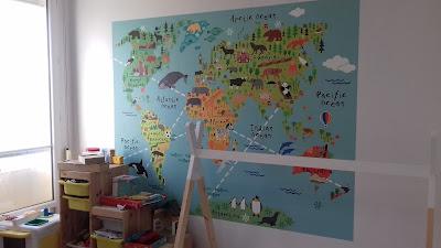 papier peint chambre d'enfants mixte mappemonde tapisserie