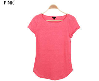 Ann Taylor Lined Round Neck Tee pink
